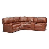 Итальянский угловой кожаный диван с двумя реклайнерами 3014